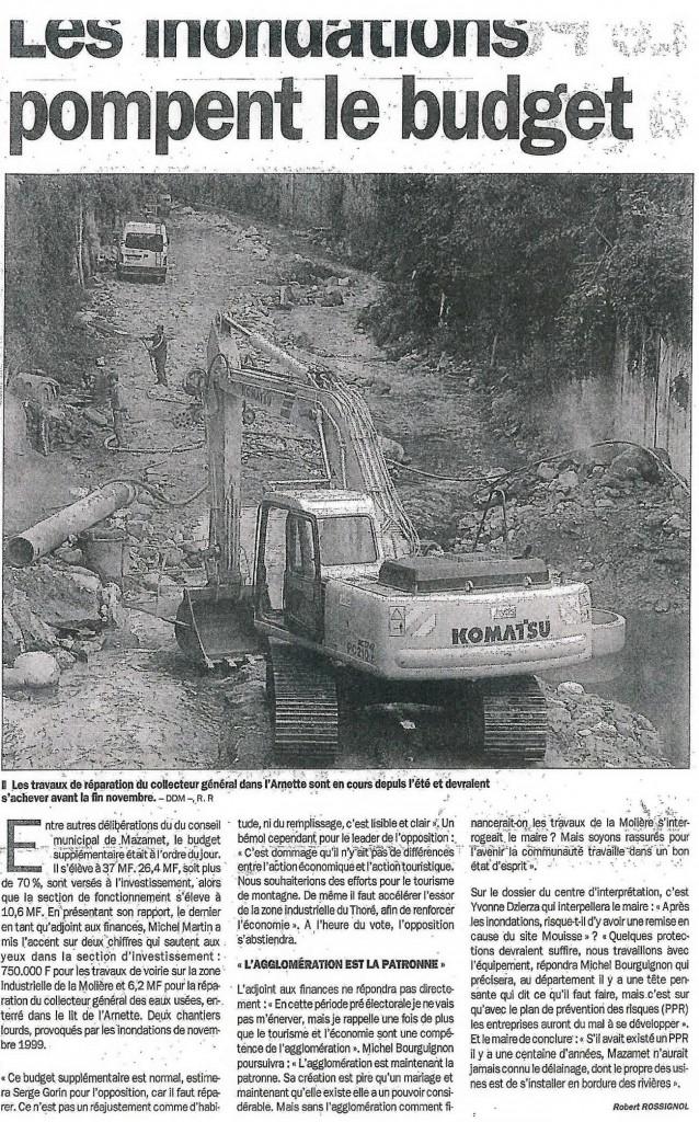 inondations - travaux de réparation du collecteur général