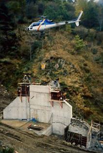 Coulage de béton frais pour un ouvrage en montagne Mérens les Vals (Ariège)