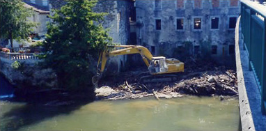 Clearing of debris after flood