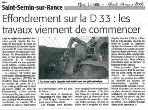 Saint-Sernin-sur-Rance : Effondrement sur la RD 33