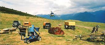 Préparation de la DZ d'emport du matériel par hélicoptère