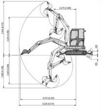 Mini-pelle sur chenilles Komatsu PC 50, équipée forage et BRH